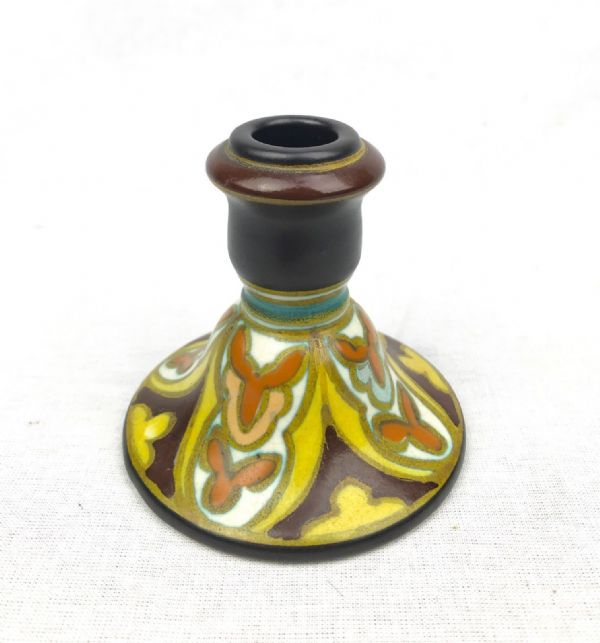 Gouda Pottery Vase / Candle Stick Holder 1926 / Dutch / Orange / Yellow / Brown